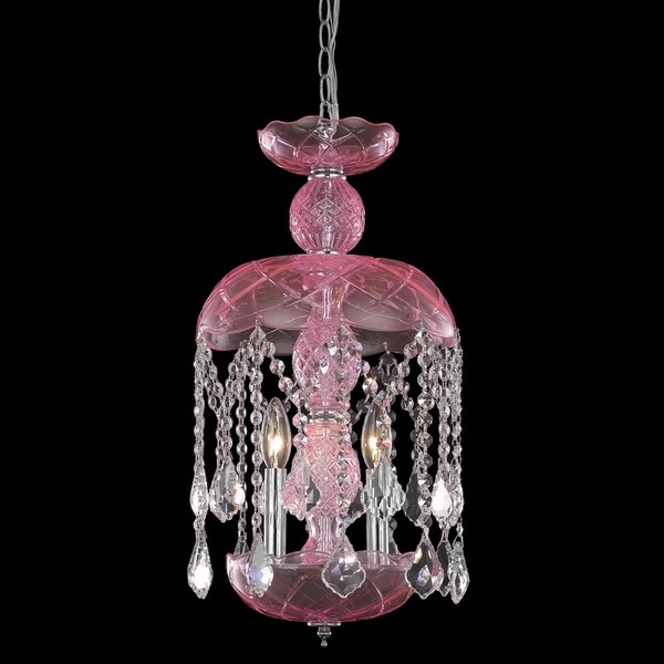 Somette Pink Crystal Chandelier