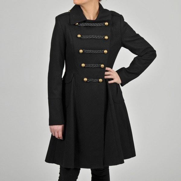 Tahari Women's Double-breasted Wool-blend Military-inspired Coat