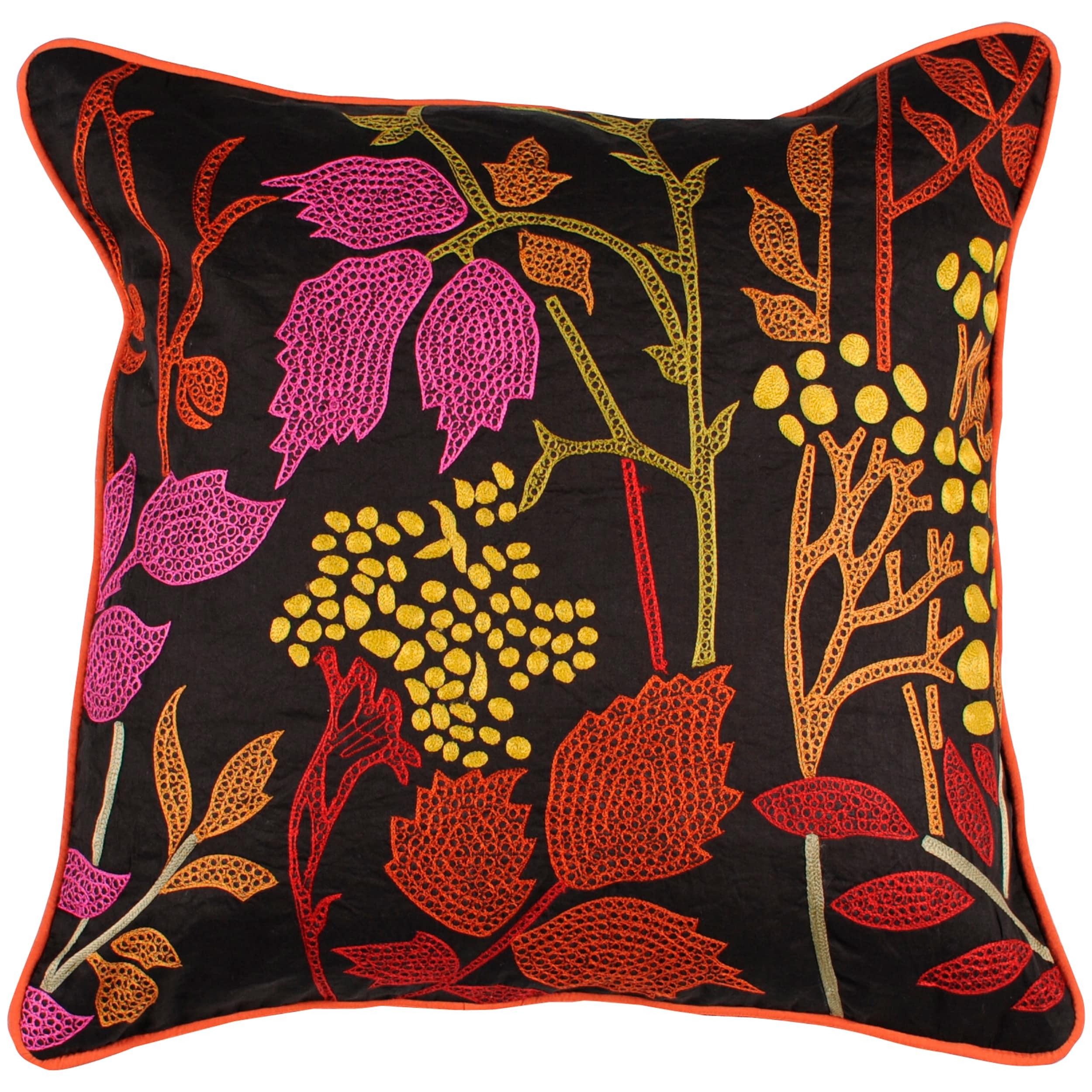 Bohemian Floral Park 18x18 Multicolored Pillow