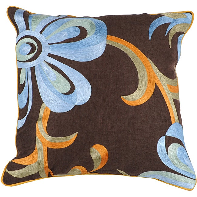 Decorative Square Lined Large Multicolored Down Pillow