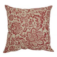 Pillow Perfect Tan/Red Damask Throw Pillow