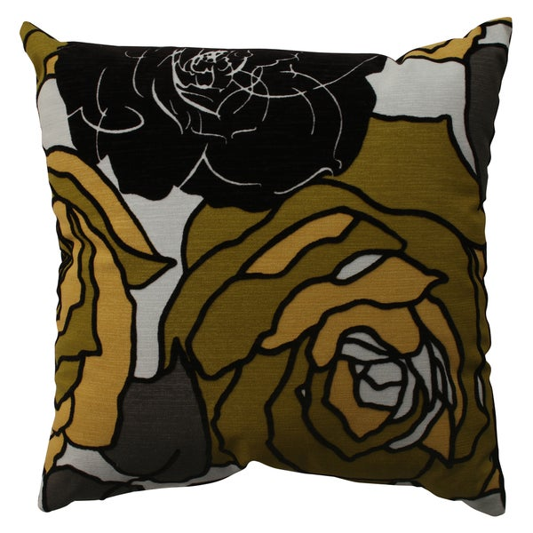 Pillow Perfect Floral Flocked Polyester Throw Pillow