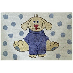 Jovi Home Dress Up Pup Blue/ White 24 x 36 Bath Rug