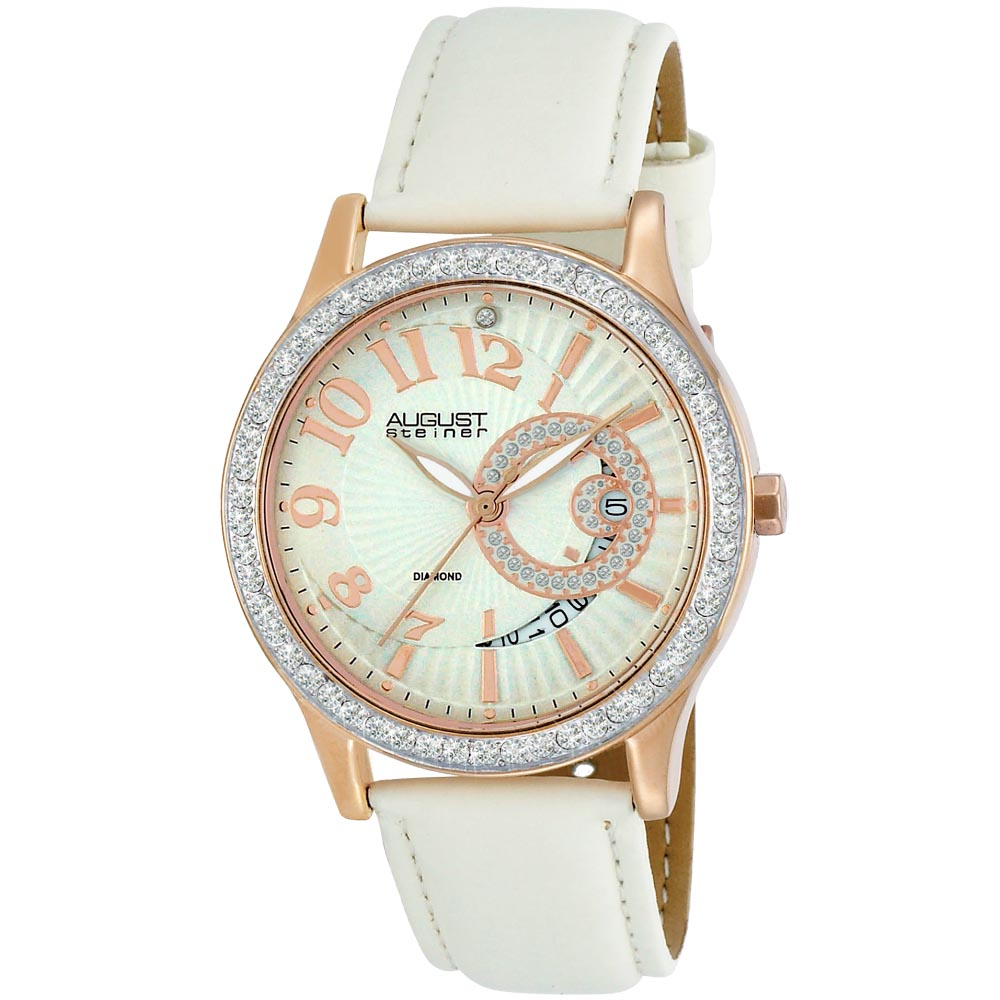 August Steiner Women's Diamond and Crystal White Quartz Rose-Tone Watch - Thumbnail 0