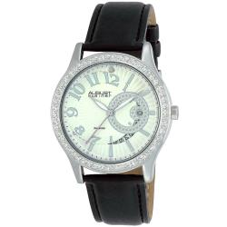 August Steiner Women's Diamond Quartz Silver-Tone Watch