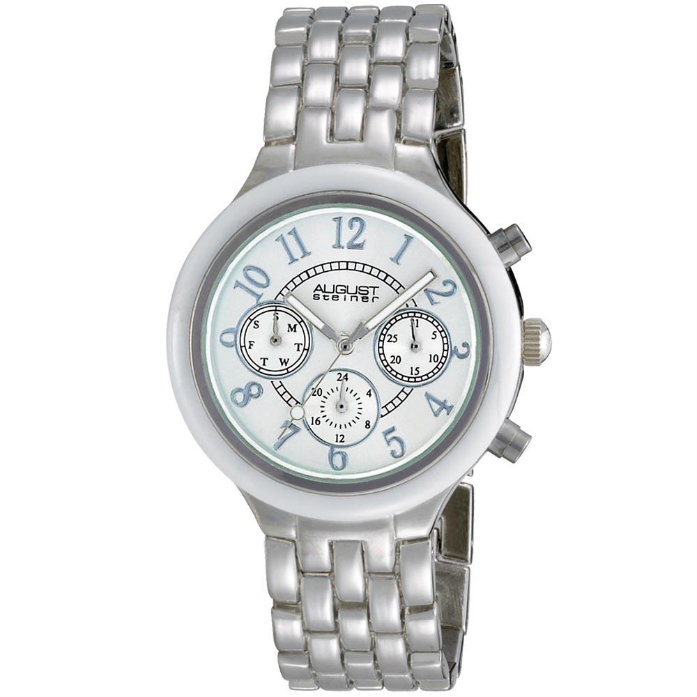 August Steiner Women's Swiss Quartz Multifunction Ceramic Bezel Mineral Crystal Watch