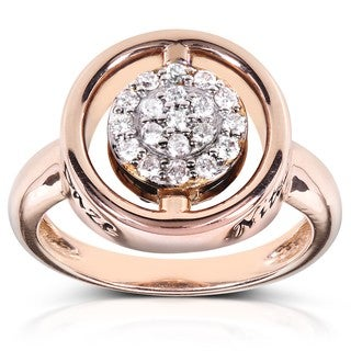 Annello by Kobelli Nitez N Daze 14k Rose Gold 1/2ct TDW Black and White Diamond Ring (H-I