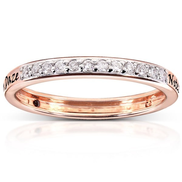 Annello by Kobelli Reversible 14k Rose Gold Black or White Diamond Ring (H-I, I1-I2)