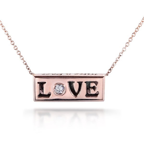 Annello by Kobelli Nitez N Daze 14k Rose Gold 1/8ct TDW Black and White Diamond 'Love' Necklace