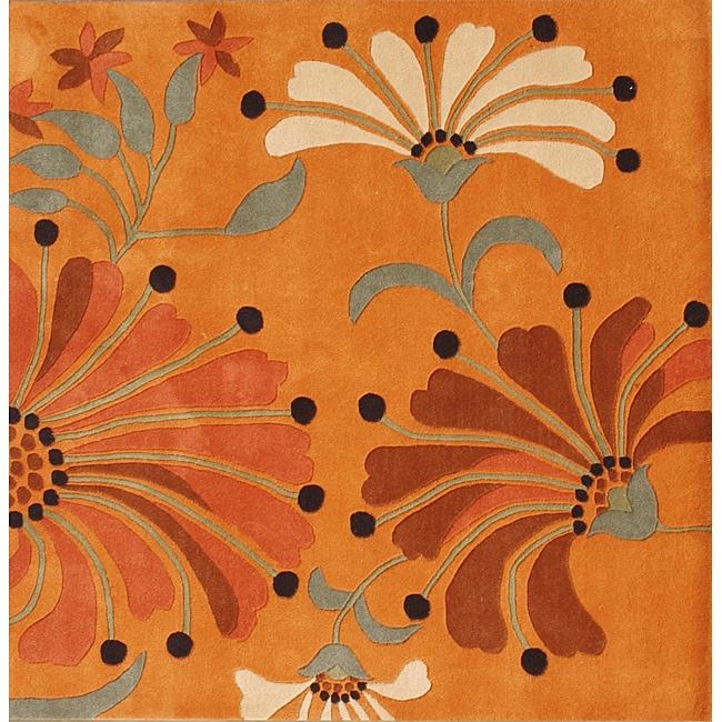 Alliyah Handmade Rust New Zealand Blend Wool Rug (6' x 6')