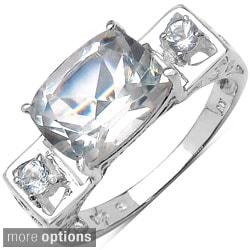 Malaika Sterling Silver Sqaure-cut Gemstone and Prong-set White Topaz Ring
