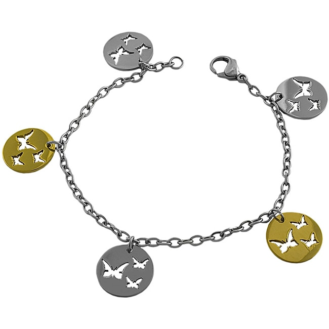 Fremada Two-tone Stainless Steel Cut-out Butterfly Charm Bracelet