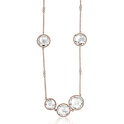 Collette Z Rose Goldplated Silver Clear Crystal Quartz Station 18-inch Necklace
