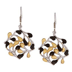 Sterling Silver Black Rhodium and Yellow Goldplated Circle Leaf Earrings