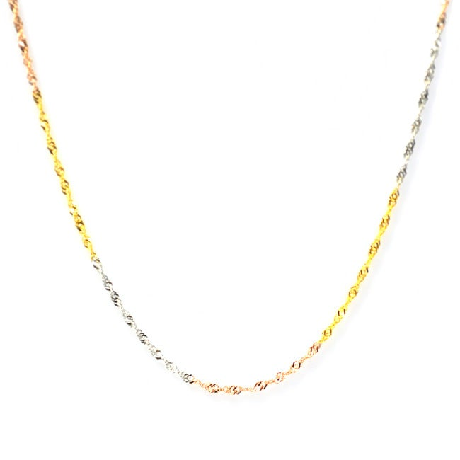 De Buman Tri-color Sterling Silver 18-inch Singapore Chain