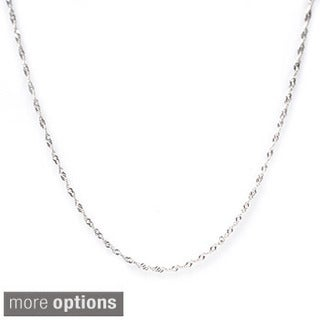 De Buman High-polish Sterling Silver 16-24 inch Singapore Chain (1.22 mm) - White