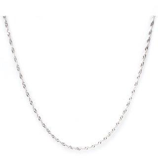 De Buman High-polish Sterling Silver 16-24 inch Singapore Chain (1.22 mm) - White