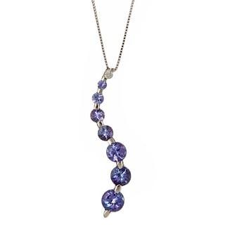 D'Yach 14k White Gold Tanzanite and Diamond Journey Necklace