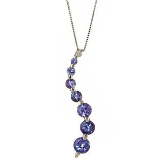 D'Yach 14k White Gold Tanzanite and Diamond Journey Necklace