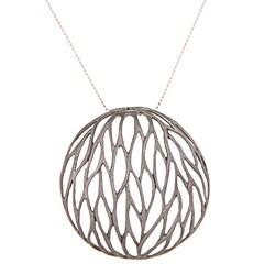 Sterling Silver Large Mesh Leaf Circle Necklace
