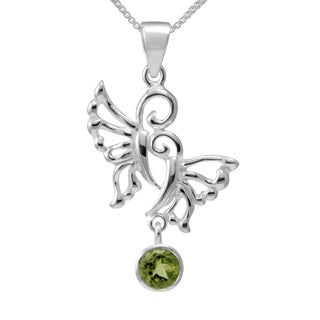 Handmade Sterling Silver Peridot Butterfly Necklace (Thailand)