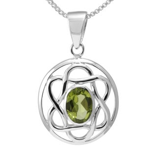 Handmade Sterling Silver Peridot Celtic Knot Necklace (Thailand)