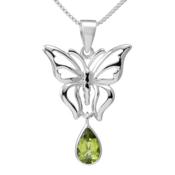 Handmade Sterling Silver Teardrop Peridot Butterfly Necklace (Thailand)