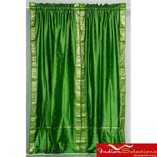 Handmade Forest Green Sheer Sari 84-inch Rod Pocket Curtain Panel Pair (India)