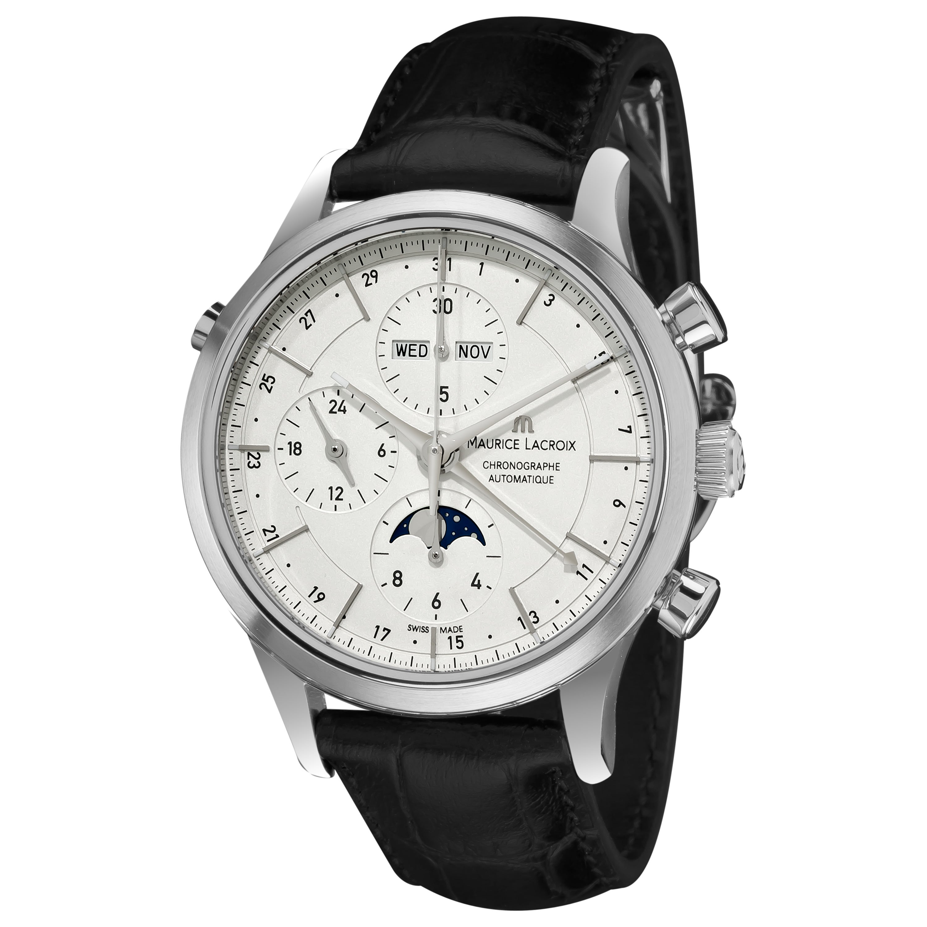 Maurice lacroix men 39 s lc6078 ss001 13e 39 les classiques 39 silver chronograph dial watch free for Maurice lacroix watches