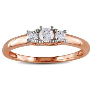 Miadora 10k Pink Gold 1/4ct TDW Diamond 3-stone Ring (G-H, I1-I2)