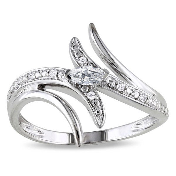 Miadora 10k White Gold 1/6ct TDW Prong-set Diamond Ring