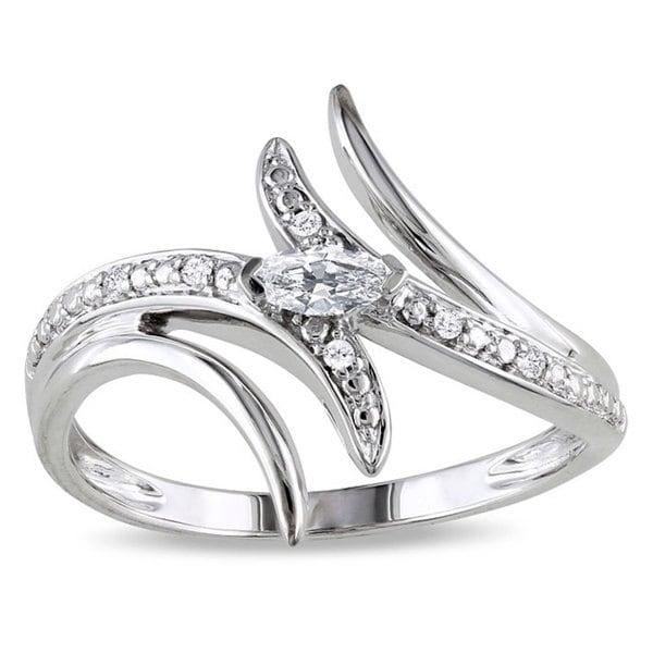 Miadora 10k White Gold 1/6ct TDW Prong-set Diamond Ring (G-H, I2-I3)