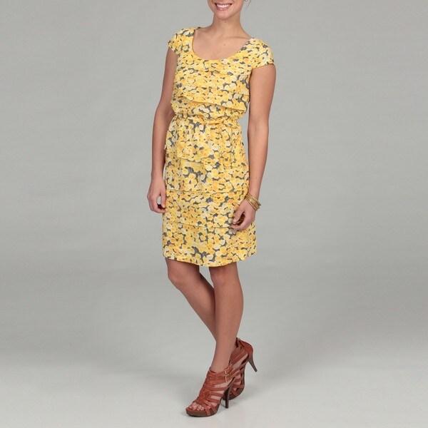Gabby Skye Women's Yellow Floral Pleated Dress