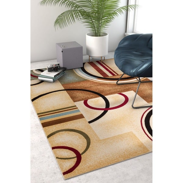 Arcs and Shapes Natural Modern Abstract Ivory, Beige, Brown, Blue and Red Area Rug - 5'3 x 7'3