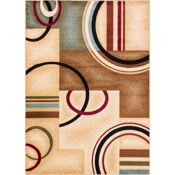 Arcs and Shapes Natural Modern Abstract Ivory, Beige, Brown, Blue and Red Area Rug (5'3 x 7'3)