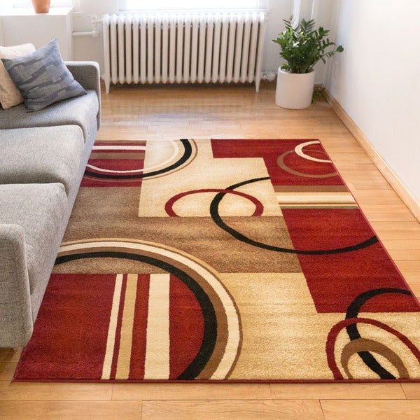 Arcs and Shapes Red Ivory and Beige Modern Circles Boxes Geometric Abstract Area Rug (7'10 x 9'10)
