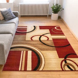 Arcs And Shapes Abstract Modern Circles Bo Red Ivory Beige Area Rug 3
