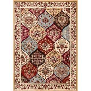 Wentworth Multi Panel Lattice Trellis Floral Border Ivory, Beige, Blue, Brown, and Red Area Rug (7'10 x 9'10)