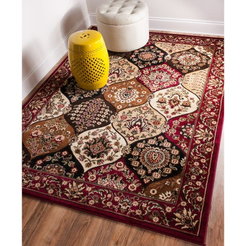 Well Woven Wentworth Panel Lattice Trellis Floral Border Red, Brown, Ivory, Beige Area Rug - 7'10 x 9'10