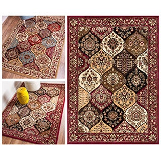 Wentworth Panel Oriental Border Lattice Trellis Area Rug (5'3 x 7'3)
