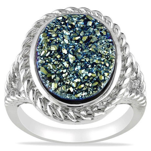 Catherine Catherine Malandrino Sterling Silver Blue Druzy Oval-cut Gemstone Ring