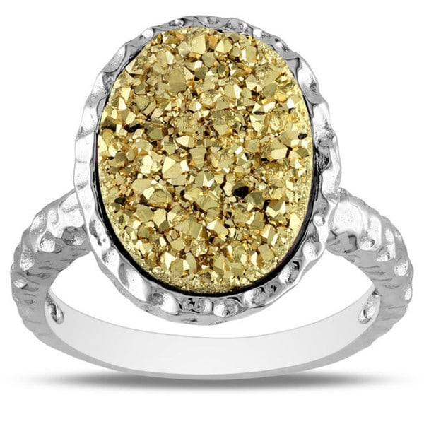 Miadora Sterling Silver Golden Druzy Gemstone Ring
