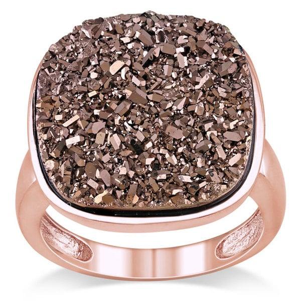 Catherine Catherine Malandrino Sterling Silver Brown Druzy Gemstone Ring