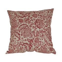 Pillow Perfect Decorative Red and Tan Damask Pillow