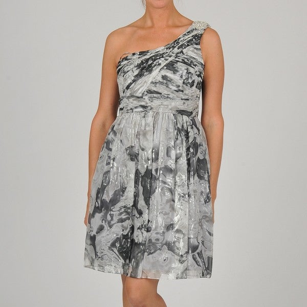 de1a09b361f2 Shop Oleg Cassini Women s One Shoulder Floral-Print Silver Chiffon Party  Dress - Free Shipping Today - Overstock - 6430725