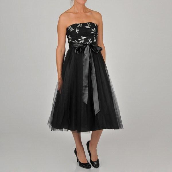 Oleg Cassini Women's Strapless Tea Length Tulle Skirt Party Dress