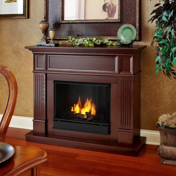 Camden Real Flame Mahogany Ventless Gel Fireplace