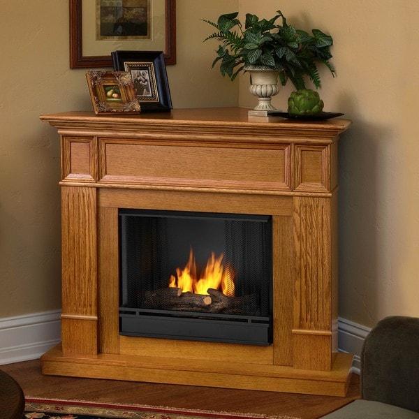 Camden Real Flame Light Oak Ventless Gel Fireplace