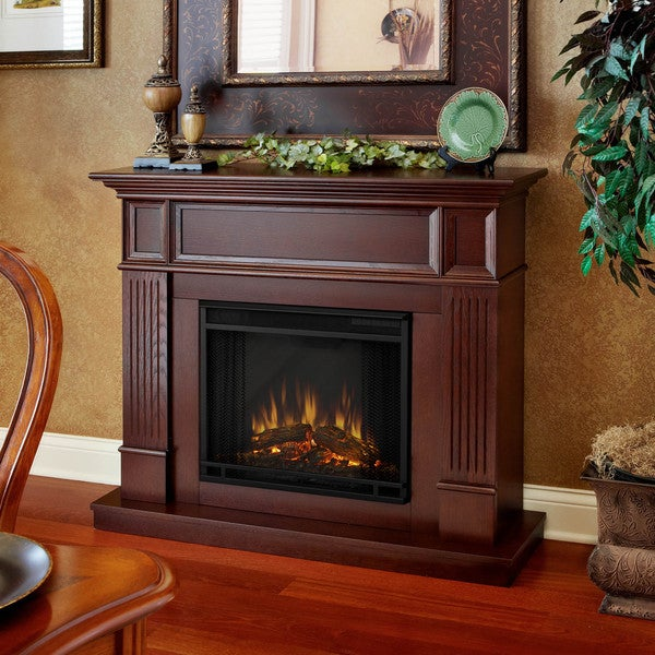 Camden Real Flame Mahogany Electric Fireplace Free Shipping
