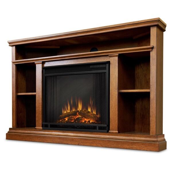 Real Flame Churchill Corner Oak 50.75 in. L x 30.5 in. D x 33.125 in. H Electric Fireplace
